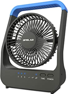 OPOLAR D-Cell Battery Operated Desk Fan with Timer, Portable Camping Cooling Fan with Strong Airflow, 4 D Batteries (Not Included) or USB Powered, 180° Rotation & 3 Speeds-Blue