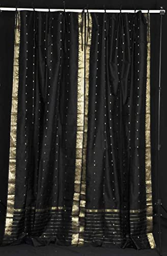 Indian Selections Lined-Black Tie Top Sheer Sari Curtain/Drape/Panel