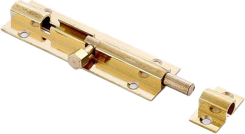 TRIXES Cerradura deslizante 75mm-para puerta cobertizo baño-Pasador-Cierre dorado-para jardín patio-Instalación fácil-Tornillos incluidos: Amazon.es: Bricolaje y herramientas