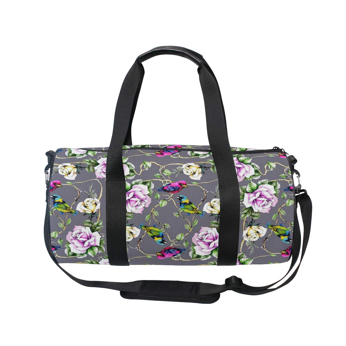 WIHVE Watercolor Bird Rose Flower Floral Sports Gym Bag Travel Overnight Duffel Bag for Men and Women