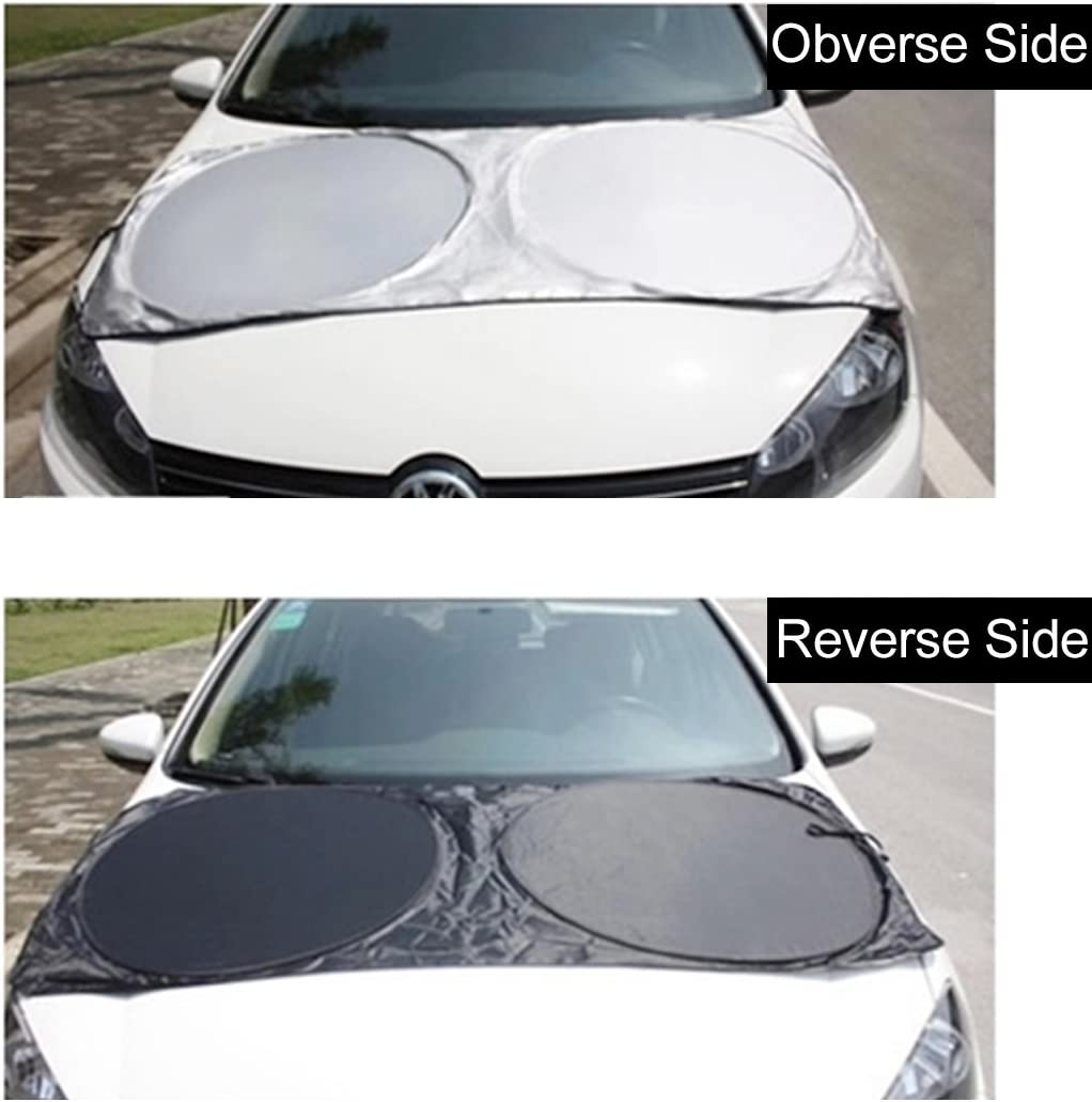 Cuque Universal Large Car Front//Back Windscreen Sun Shade Aluminum Automotive Foldable Sunshade UV protection Windshield Visor 62.8 x 13.8 x 4.4 cm Silver Keeps Your Vehicle Cool Heat Shield Shade