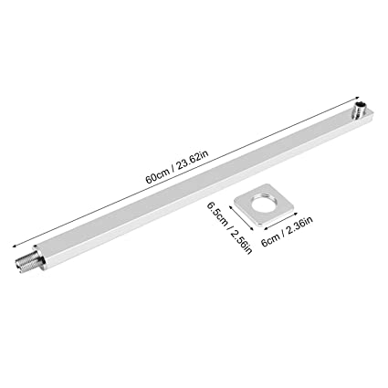 Yosoo 60cm/23.62 Inch Rectagular Shower Extension Arm Fixed Rain Shower  Head Arm Chrome Wall