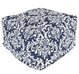 Majestic Home Goods Navy and White French Quarter Ottoman, Large