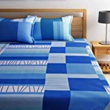 Dreamscape 100% Cotton Double bedsheet with 2 Pillow Covers Set, 144tc Geometric Blue bedsheets for Double Bed Cotton (Size 7.3ft x 8.2ft)