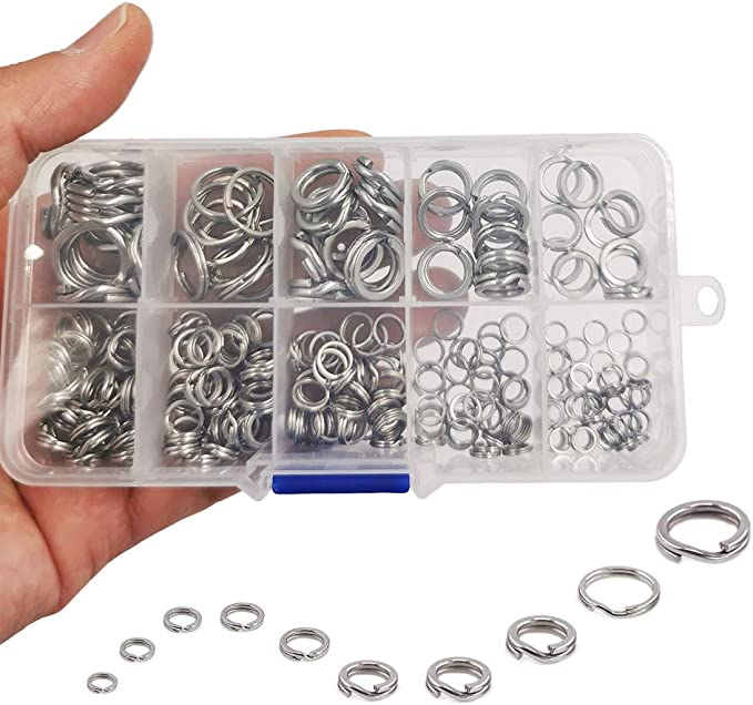 50 Piece Stainless Steel Split Ring Assortment Assorted Fishing Tackle Hot U8T9