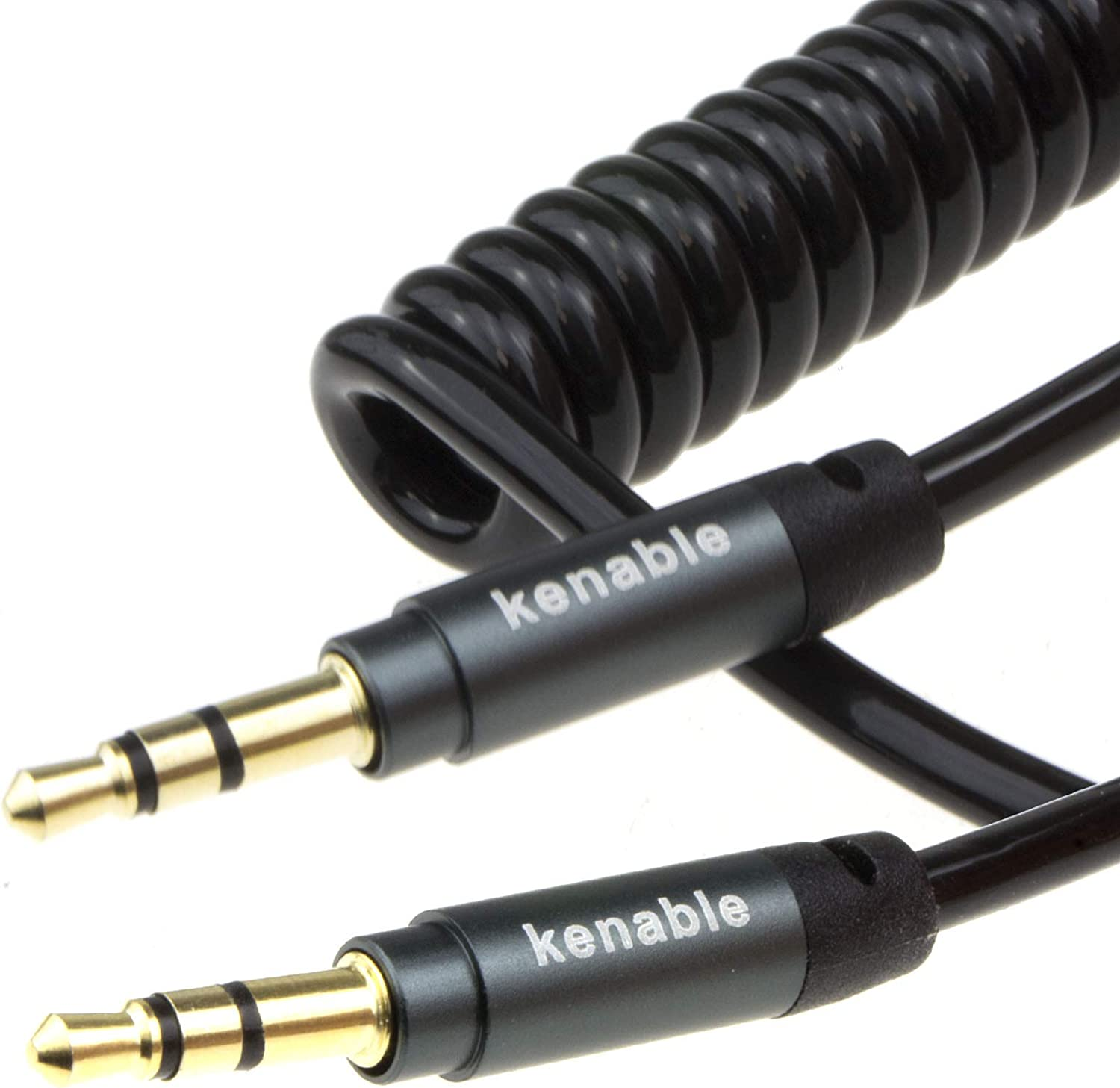 ~6 feet kenable PRO 22AWG Coiled 3.5mm Stereo Jack Cable AUX Headphone Lead 2m Gold