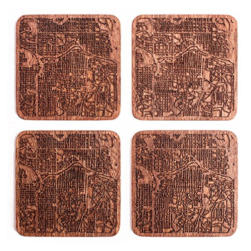 Calgary Map Coaster by O3 Design Studio, Set Of 4, Sapele Wooden Coaster With City Map, ()