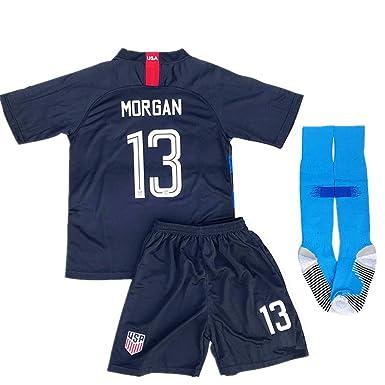 online store 1c96a 6d296 Alex Morgan #13 New 2018-2019 USA National Away Kids/Youth Socce Jersey  Matching & Shorts & Socks