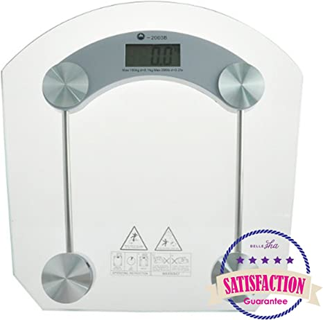 Amazon Com Digital Bathroom Scale Most Accurate Faultless Electronic Bath Weighing Scale Tempered Glass By Bellesha Home Kitchen