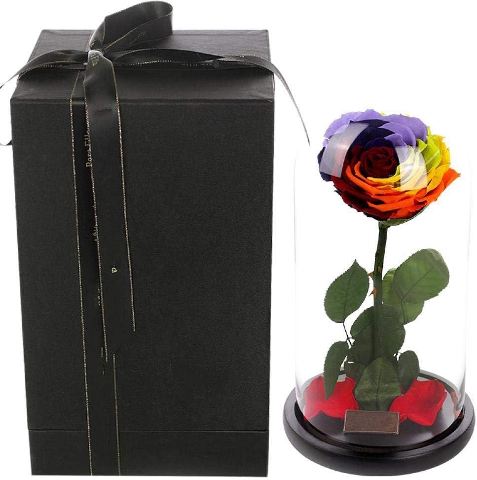 永遠にバラの花はガラスの花瓶で不死のバラを保持しましたクローシュ結婚式の装飾センターピースユニークなギフト、カラフルな単一の永遠の花