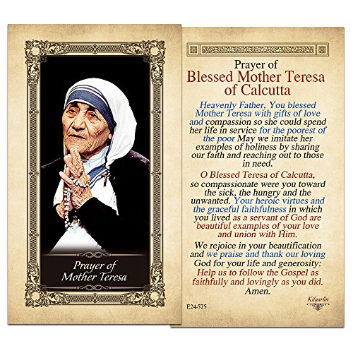 (Mother Teresa Laminated Holy Card - Pack of 25)