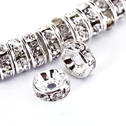 8 MM RONDELLE WAVE EDGE SILVER PLATED CLEAR  RHINESTONE SPACER  BEADS