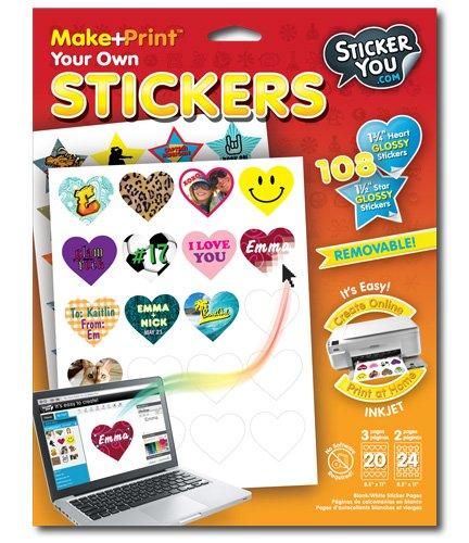 amazon com stickeryou make print heart 1 75 and star 1 5 glossy