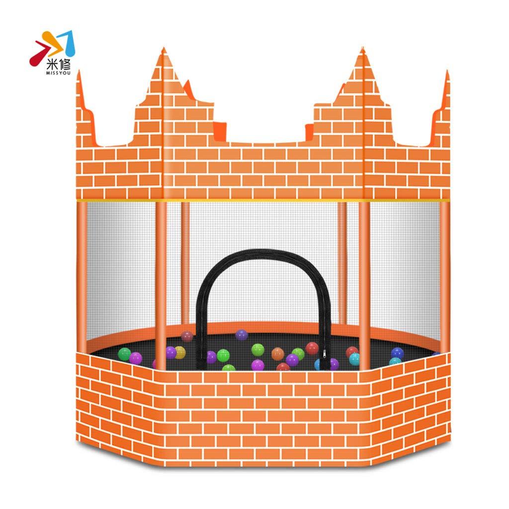 Trampolin Hauptkinder Indoor Baby Bounce Bett Erwachsenen Handlauf Schloss springen (Farbe : Orange, Größe : 150  150cm)