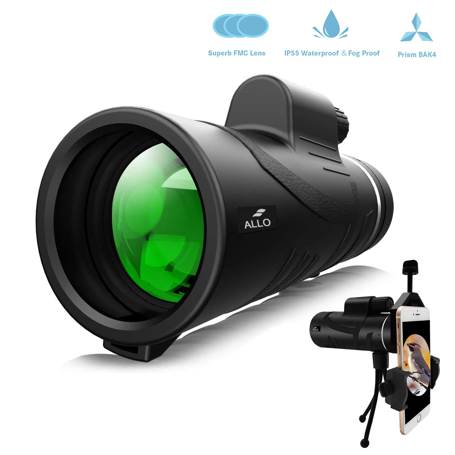 Allo 12x42 High Power HD Monocular Telescope, Low Night Vision Monocular for Adults with Phone Adapter and Tripod - Bird Watching, Hunting, Camping, Traveling, Outdoor Sports by Allo