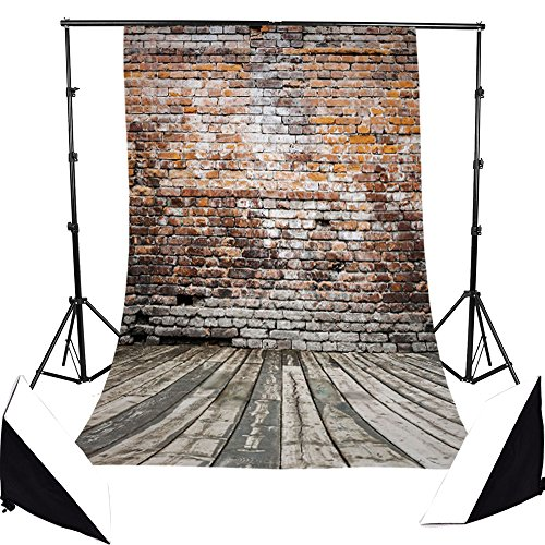 Hot Sale  Brick Wall Retro Wood Floor Pictorial Cloth Less Crease Grade Aaaaa Customized Photography Backdrop Background Studio Prop Best For Photography Video And Television Updated Material