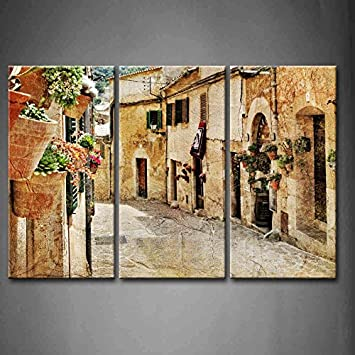 3 Panel Wand Kunst Straßen Of Old Mediterrane Städte Blume Windows Street  Lampe Malerei Bilder