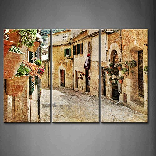 First Wall Art - 3 Panel Wall Art Streets Of Old Mediterranean Towns Flower Windows Street Lamp Painting Pictures Print On Canvas Architecture The Picture For Home Modern Decoration piece (Stretched By Wooden Frame,Ready To Hang) by Firstwallart