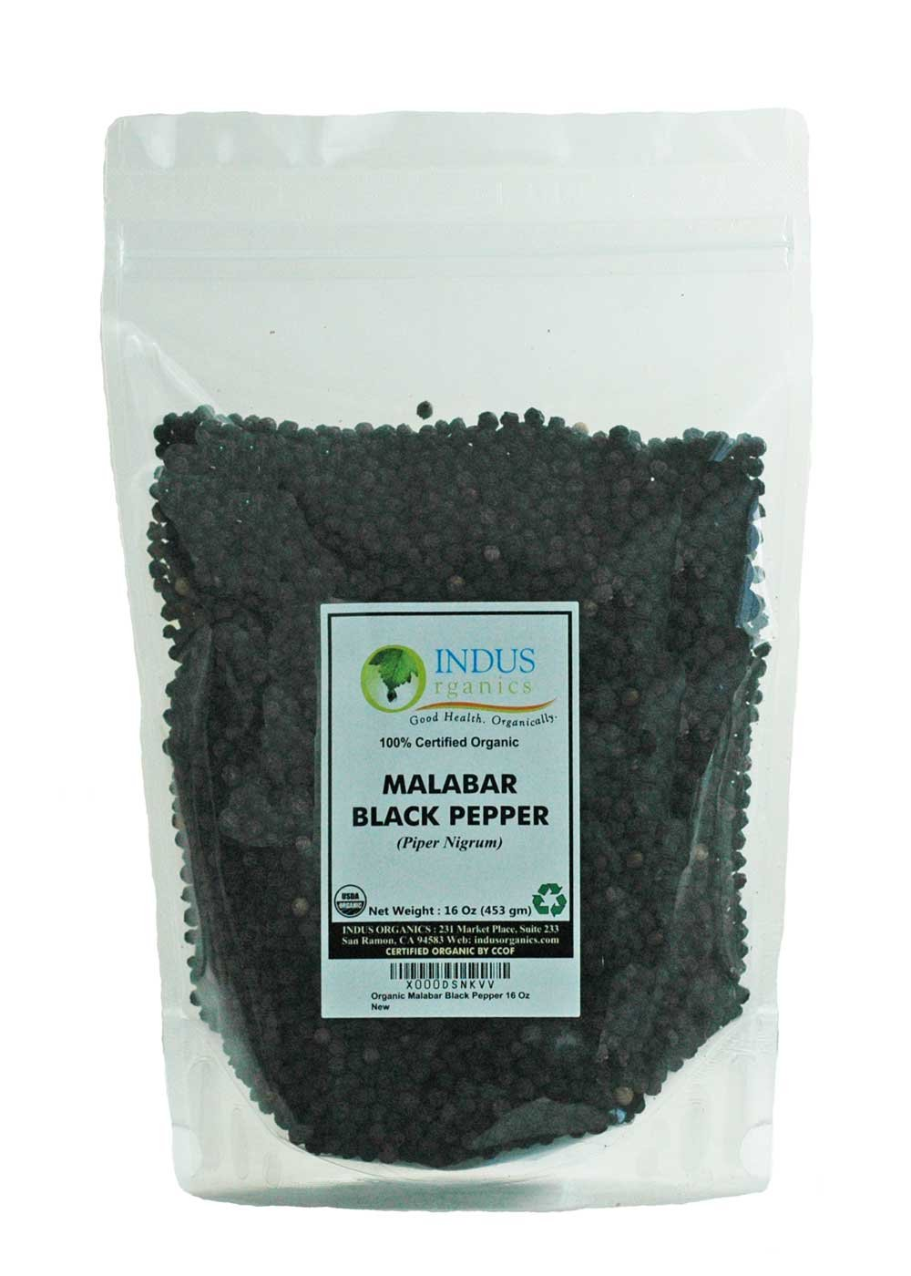 Indus Organics Malabar Black Peppercorns, Refill Bag, 1 Lb, Premium Grade, High Purity, Freshly Packed by Indus Organics