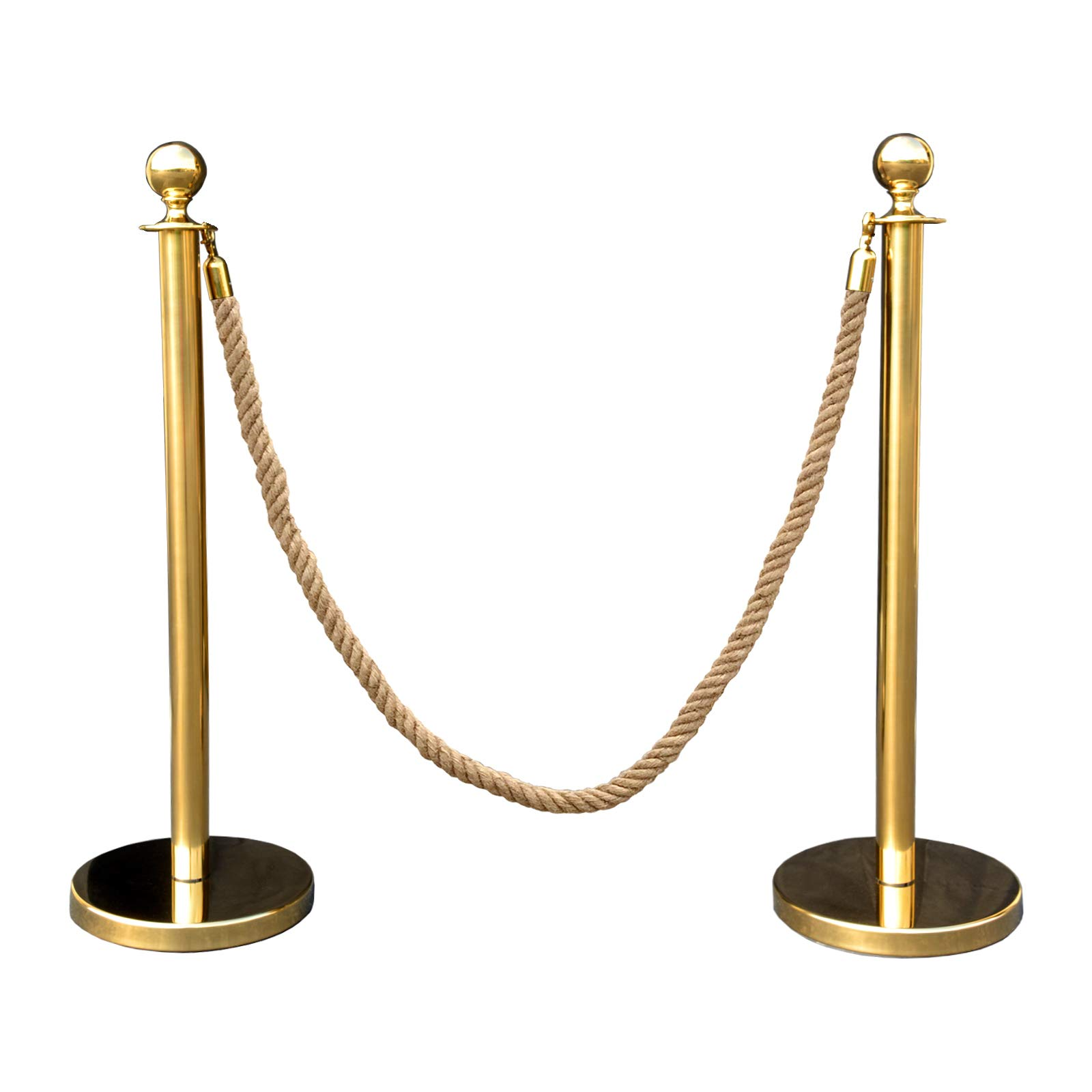 Gold Crown Top Decorative Rope Safety Queue Stanchion Barrier in 3 pcs Set, VIP Crowd Control (72'' Hemp Braided)