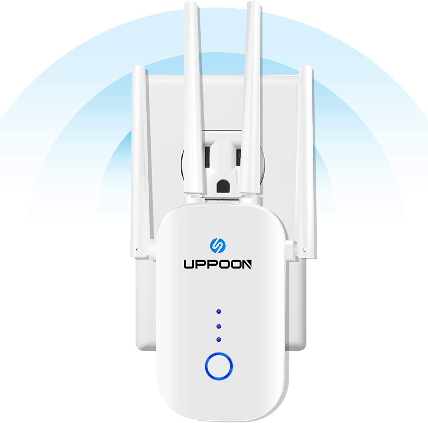 UPPOON 1200Mbps WiFi Extender Signal Booster up to 4500sq.ft, 2.4 & 5GHz Dual Band Internet Booster Amplifier, 5 Working Modes Repeater with Ethernet Port, 1-Tap Setup, Alexa Compatible