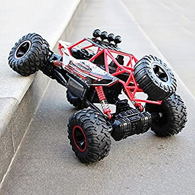 Pinjeer RC Car 1/12 4WD Rock Crawlers 4x4 Driving Car Double Motors Drive Big Foot Car Remote Control Car Model Off-Road Vehicle Educational Toy for Kids Age 4+ (Color : Red) : Baby