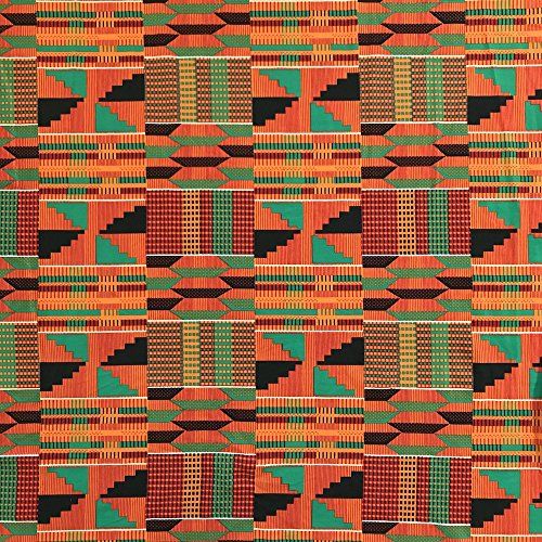 Jersey Knit Print Fabric - DTY African Print Fabric Kente (3-2) Stretch Brushed Jersey Knit Apparel 58/60