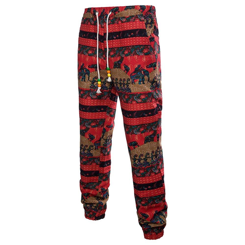 LOG SWIT 3D Floral Printed Linen Pants Men Joggers Male Summer Pants Loose Full Tie Dye Harem Sweatpants red-7 XXL
