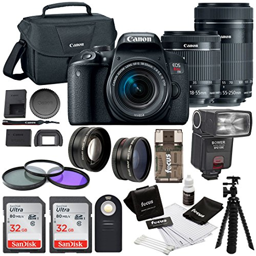 Canon EOS Rebel T7i w/ 18-55mm + 55-250mm lenses, + 64GB SDHC Memory Card + Bounce Swivel Zoom TTL Flash + 58mm Wide Angle & Telephoto Lenses + 58mm 3pc filter kit + Loads more accessories by Focus Camera