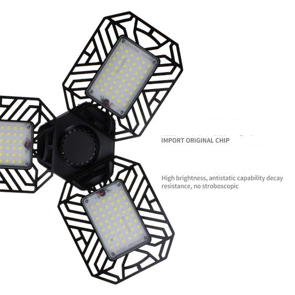 Garage Light Deformable,6000lm 60W LED Garage Light Bulb Foldable Industrial Mining Light for Garages Warehouses Supermarkets
