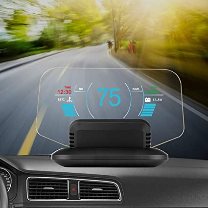Qwertour Head Up Display Car Hud Mirror Display C1 Car Gps Speedometer Speed Limiter Warning Obd2 Gps Dual Mode Faulty Code Scan Küche Haushalt