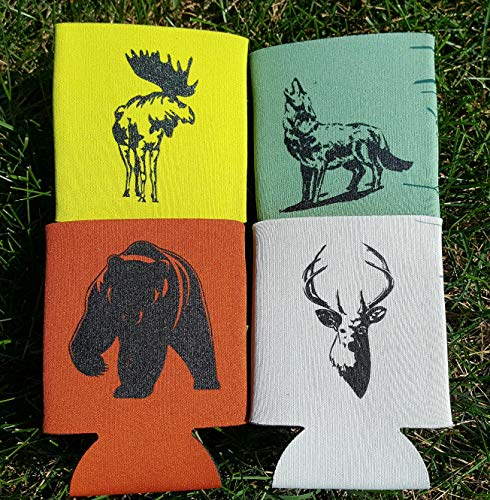 Neoprene Insulated Can Coolers, Beverage Insulator, Set of 4 - Collapsible 12 oz Can Sleeves - Made in USA. Thick Neoprene with Seamed sides, Bear, Moose, Deer, Wolf, Assorted Colors.