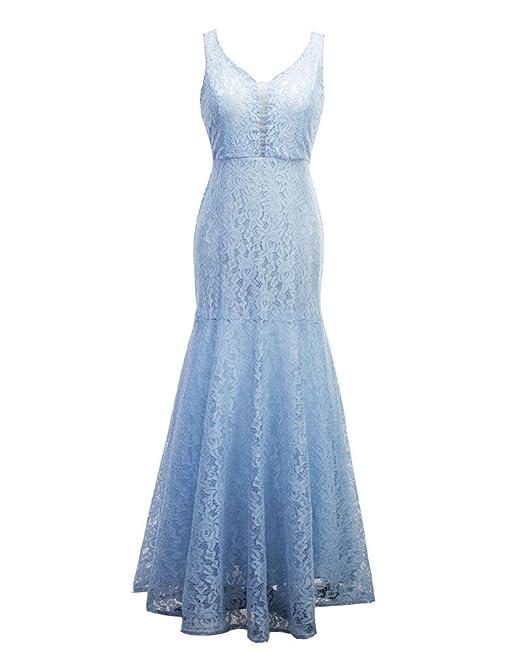 Elegante Vestido De Fiesta Encaje Sin Mangas V Cuello Cola De Pescado Mujer Bodycon Claro Azul