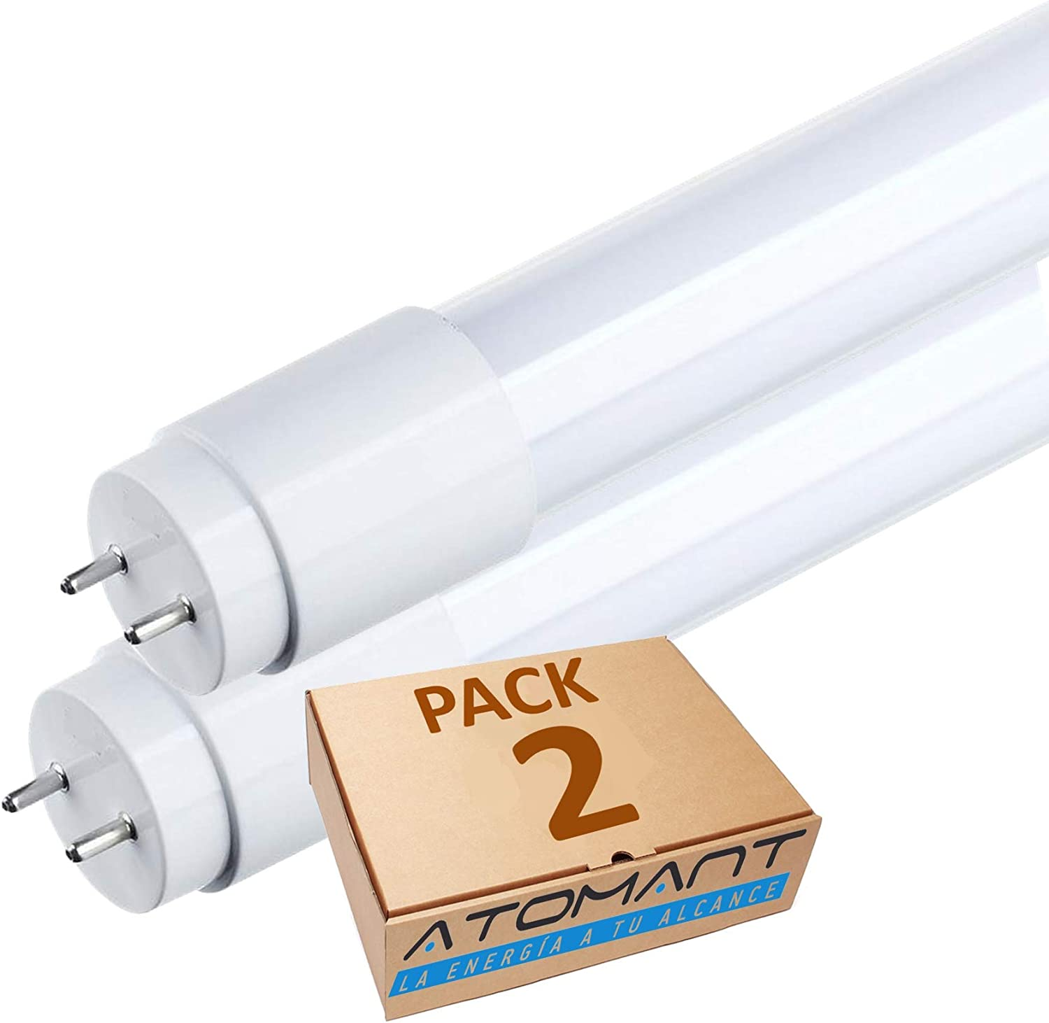 Pack 2x Tubo LED 60 cm, 9w. Color Blanco Frio (6500K), T8 Standard. 870 Lumenes. Cebador LED incluido. A++