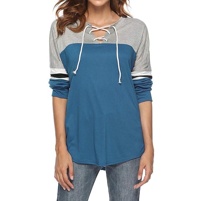 Camicia Donna Elegante Comode Manica Lunga Taglie Forti Primavera DAY8  Bluse Camicetta Donna Casuale Sport Collo a V Maglietta Tunica T-Shirt  Loose Fit ... d1f17d66aa8