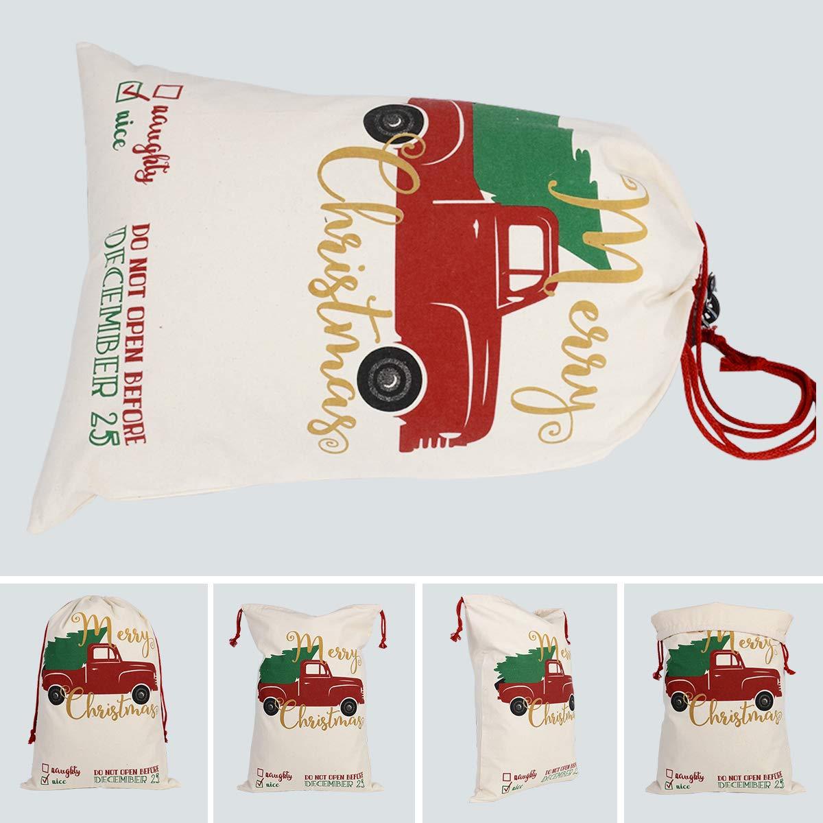 Xunlong Santa Sack Christmas Bag Large Cotton Santa Bag with Drawstrings 27.5x19.5 3 Pack Pattern 1