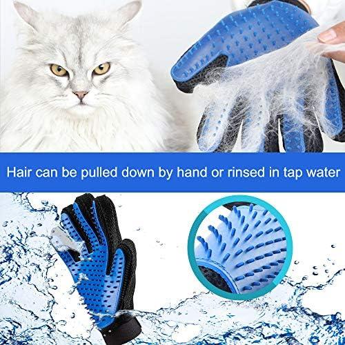 Guante de aseo para mascotas, 2 unidades, actualizado 259 suave removedor de pelo de mascotas, suave cepillo de deshedding herramienta de deshedding para gatos y perros – eficiente guante removedor de pelo de mascotas 4