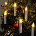 WYZworks 10pk Christmas Tree LED Taper Candles Battery Powered with Timer Remote Control & Clip