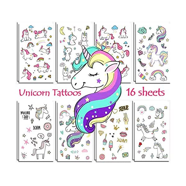 Unicorn Temporary Tattoos for Kids Birthday Party, Waterproof Unicorn Tattoo Stencil Unicorn Party Supplies 16 Sheets, 288 Tattoos 3