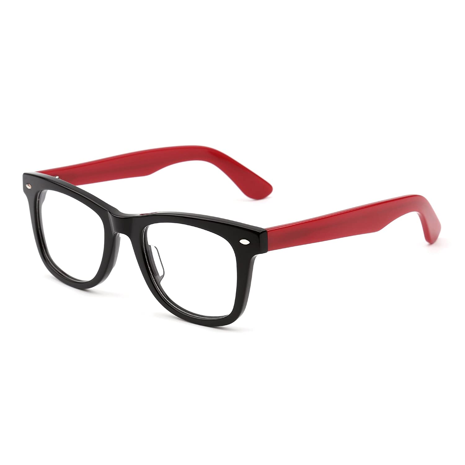 22920fa569b Amazon.com  Classic RX Glasses Frame Spring Hinge Clear Lens Square Eyeglasses  Men Women (Black Red Clear)  Clothing