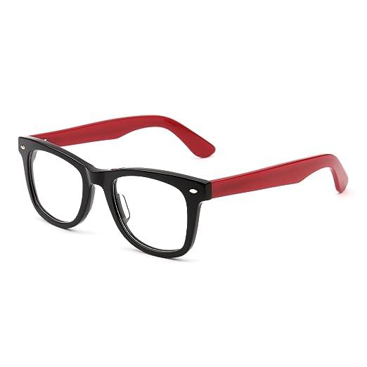 20d21e1da60b Classic RX Glasses Frame Spring Hinge Clear Lens Square Eyeglasses Men Women  (Black Red