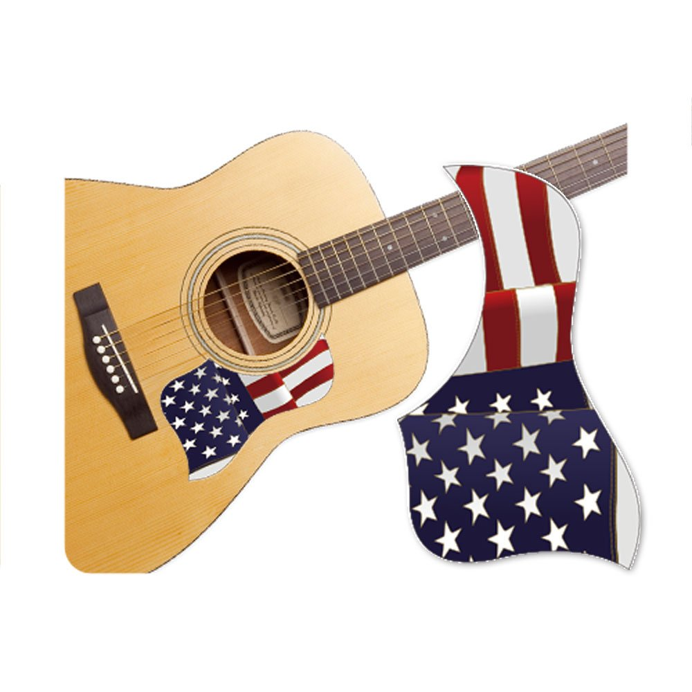 Healingshield Premium Acoustic Guitar Pickguard Style Type Star and Stripes