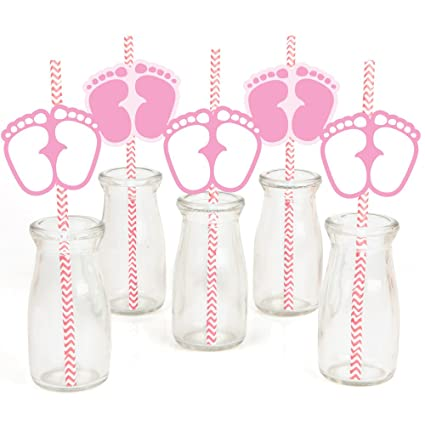 Amazon.com: Pies de bebé rosa papel paja Decor – Baby Shower ...