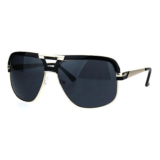 758c14659656 Amazon.com: Mens Mobster Mafia Half Rim Flat Top Racer Sunglasses ...
