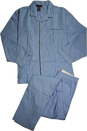 Private Label Weldon - Mens Big Long Sleeve Long Leg Broadcloth Pajamas, Light Blue 39387