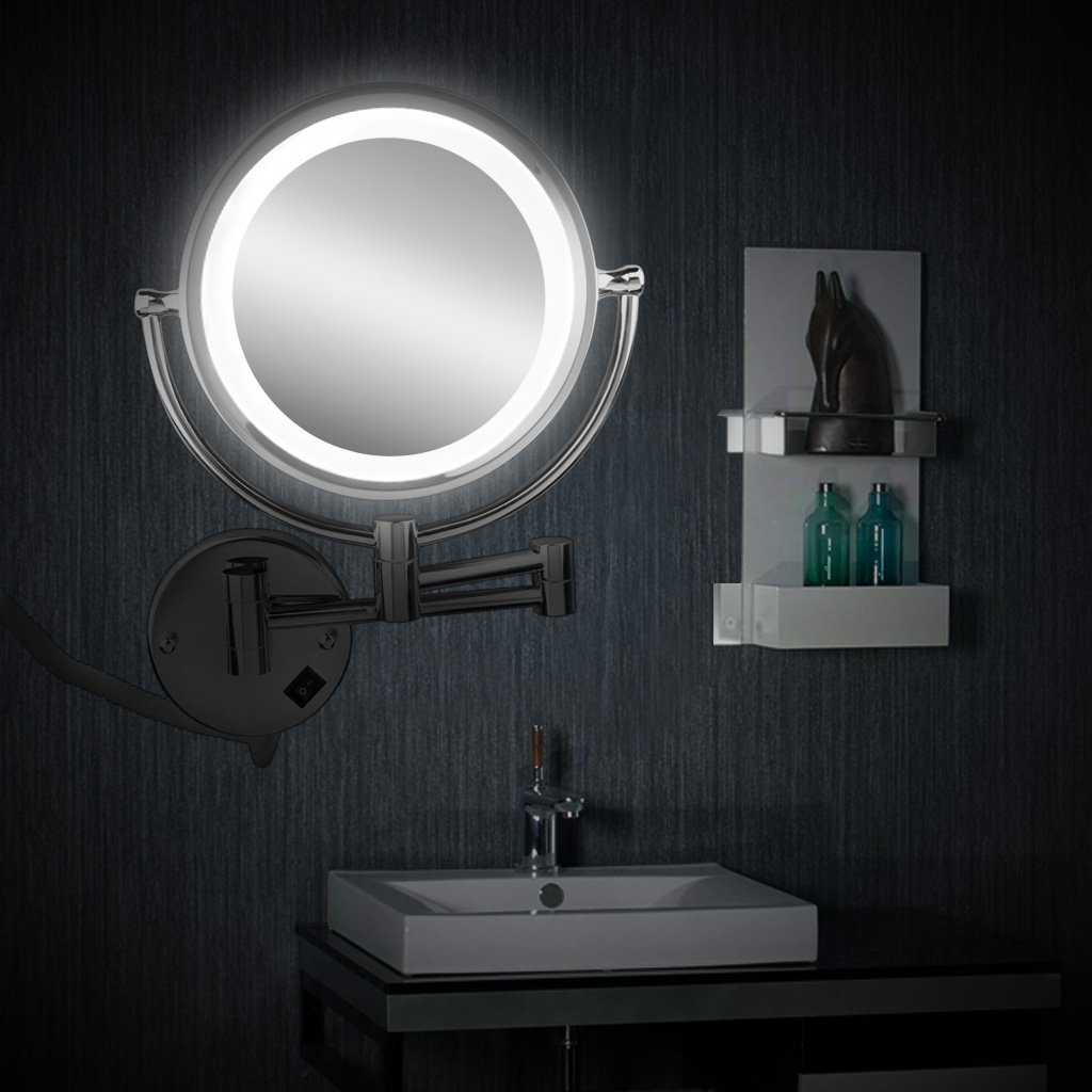 Amazon.com: Floureon Wall Mounted 8.5 Inch Double Sided Cosmetic Make Up  Shaving LED Lighted Bathroom Mirror 10x Magnification: Home U0026 Kitchen