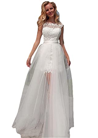 Ri Yun Women s Lace Beach Wedding Dresses with Detachable Train High Low  Cap Sleeves Wedding Party Bridal Gowns at Amazon Women s Clothing store  c4c764633d