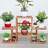 Solid wood flower frame balcony living room floor of the ground multi - layer wooden flower shelf bonsai frame ( Color : Brown )