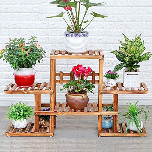 Solid wood flower frame balcony living room floor of the ground multi - layer wooden flower shelf bonsai frame ( Color : Brown ) by Flower racks