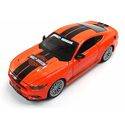 Maisto 32188 2015 Ford Mustang Harley Davidson Orange 1/24 Diecast Car Model: Toys & Games